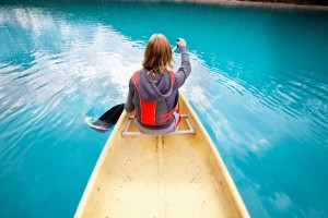 Woman rowing boat
